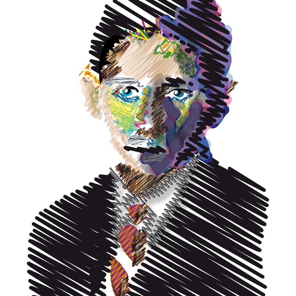 Ilustración retrato de Franz Kafka