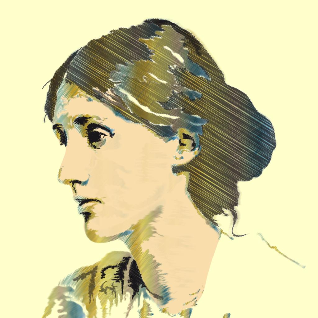 Retrato de perfil de Virginia Woolf
